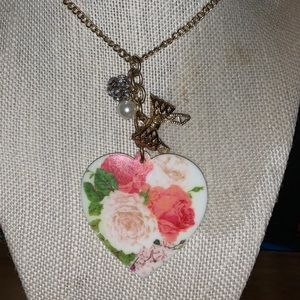 Girly floral heart necklace necklace